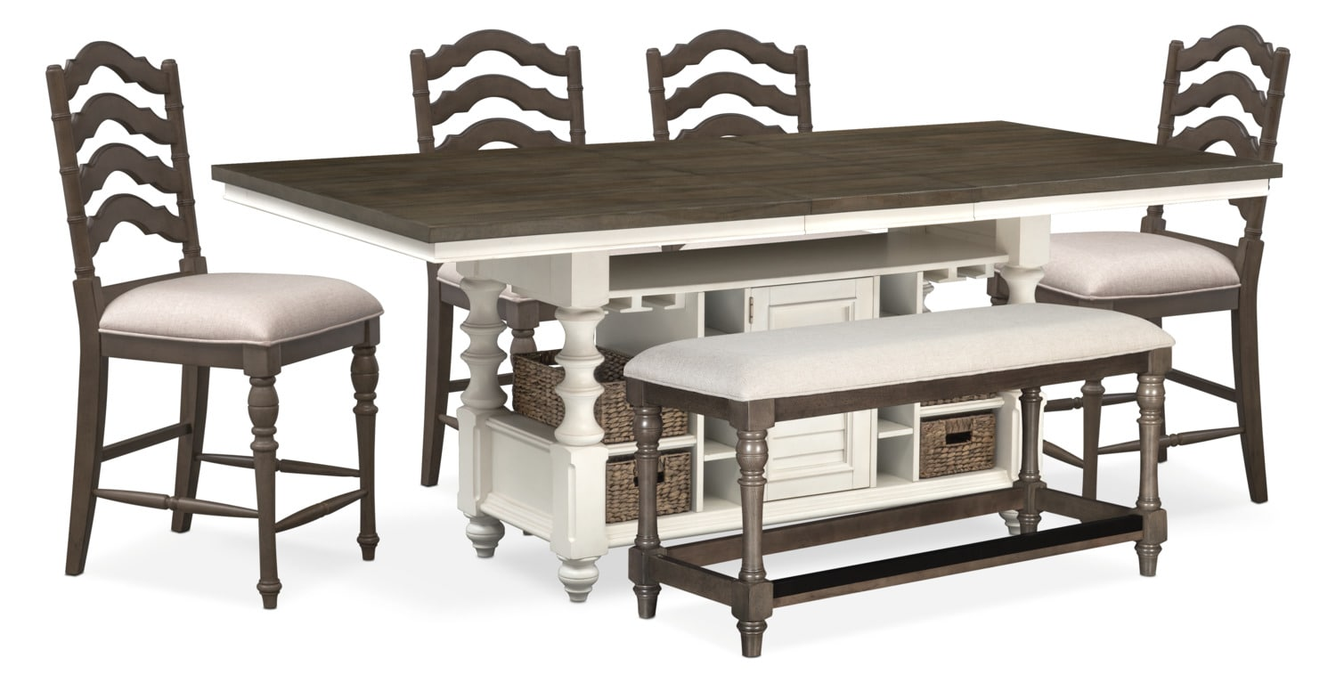 Dining room furniture charleston counter height dining table 4 stools and bench