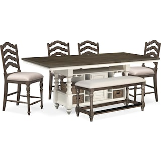 Charleston Counter-Height Kitchen Island, 4 Stools and Bench - Gray and White