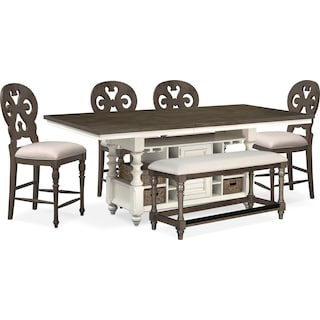 Charleston Counter-Height Kitchen Island, 4 Scroll-Back Stools and Bench - Gray and White