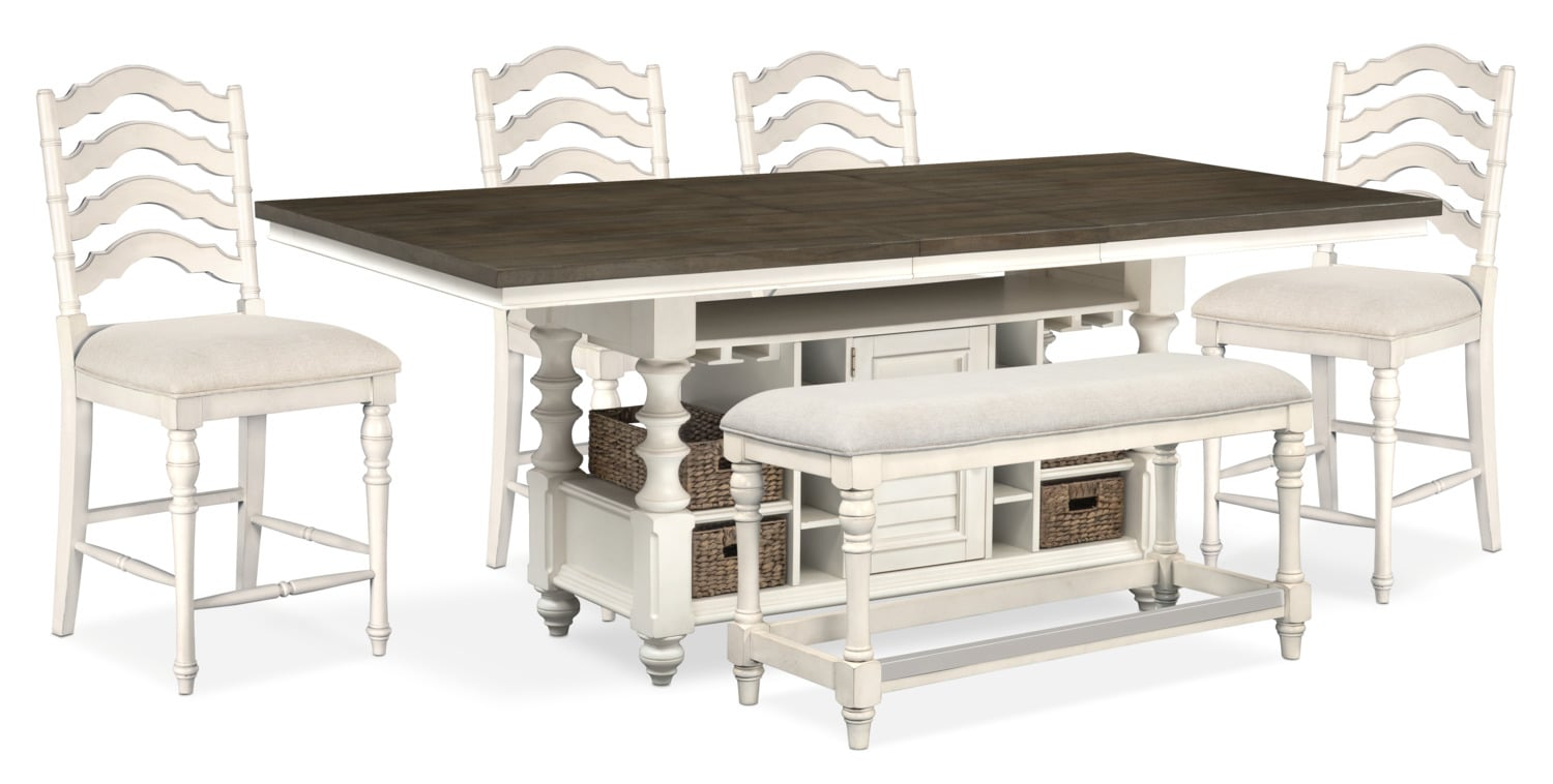 Dining Room Furniture - Charleston Counter-Height Kitchen Island, 4 Stools and Bench