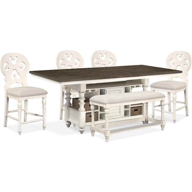 Dining Room Furniture - Charleston Counter-Height Dining Table, 4 Scroll-Back Stools and Bench - White