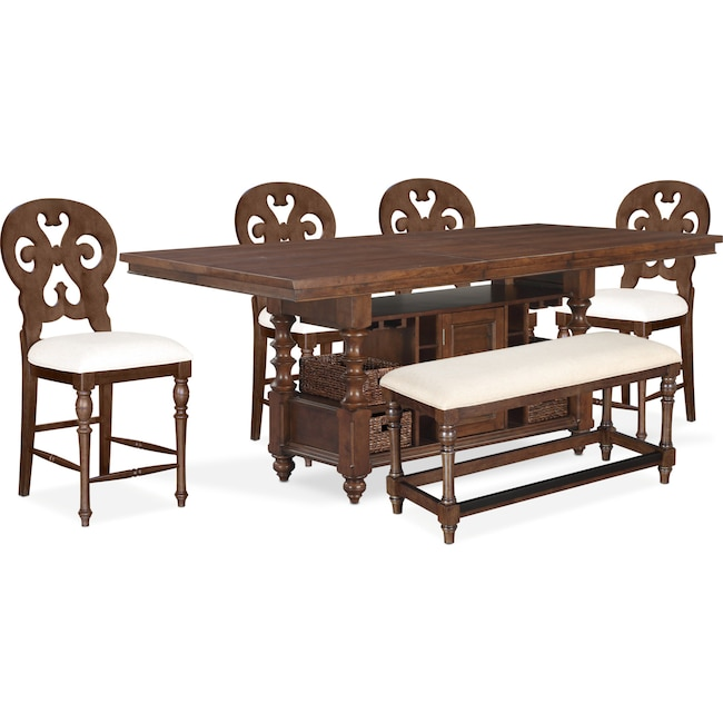 Dining Room Furniture - Charleston Counter-Height Dining Table, 4 Scroll-Back Stools and Bench - Tobacco