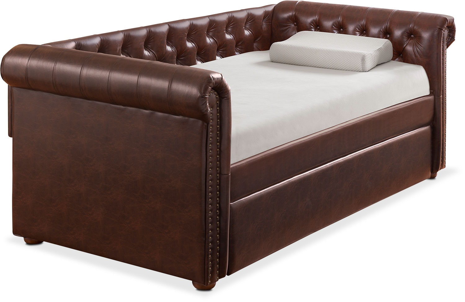 Kids Furniture - Shelton Twin Upholstered Daybed with Twin Trundle - Brown