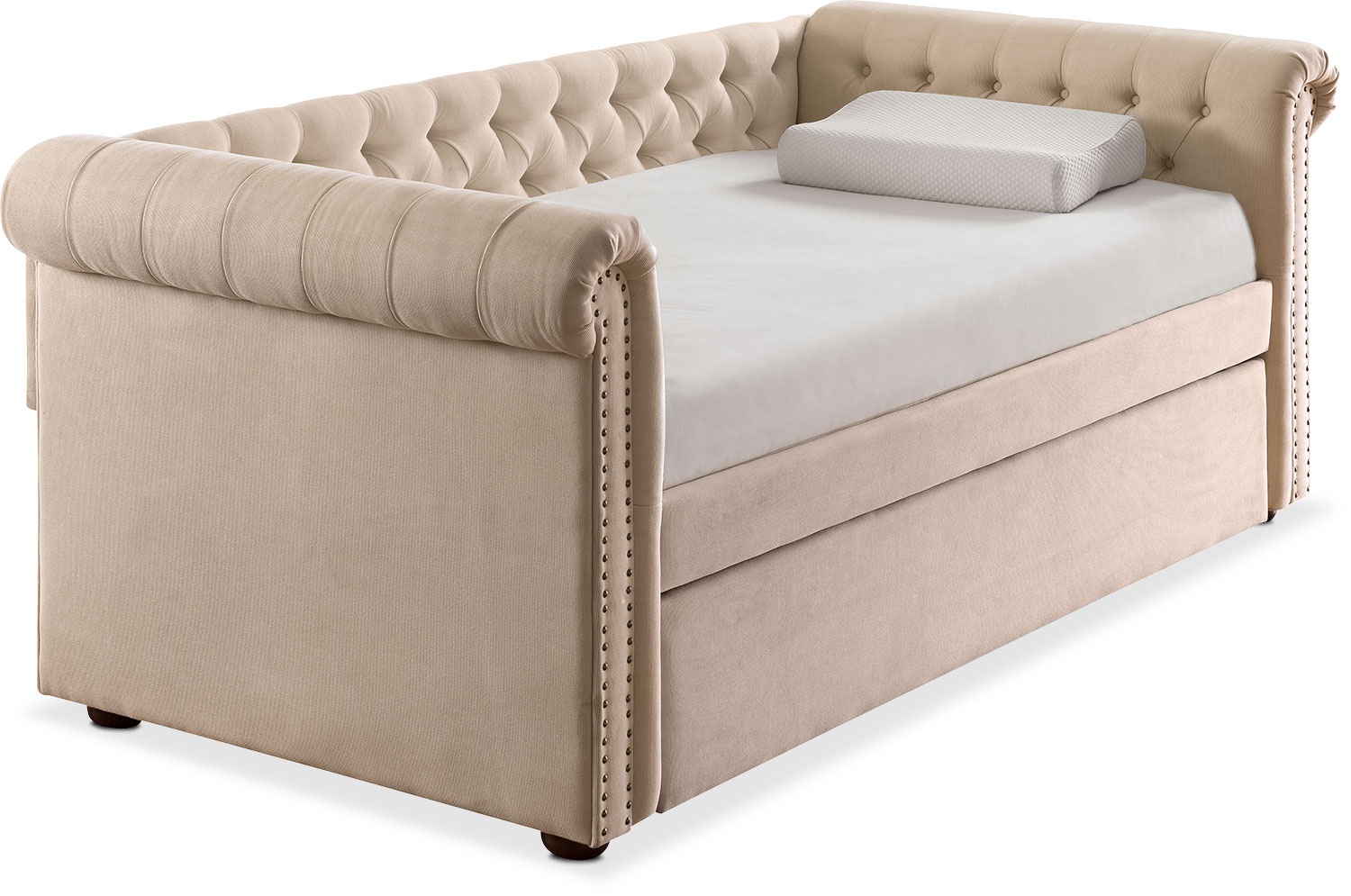 Kids Furniture   Shelton Twin Upholstered Daybed With Trundle   Ivory