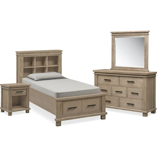 Tribeca Youth 6-Piece Twin Bookcase Bedroom Set with Storage - Gray