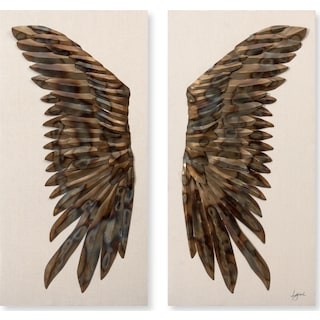 Set of 2 Raven Wings Wall Décor
