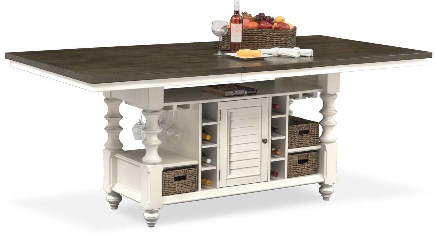 Dining Room Furniture - Charleston Kitchen Island - Gray and White