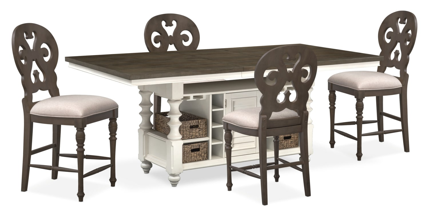 Dining Room Furniture - Charleston Counter-Height Kitchen Island and 4 Scroll-Back Stools