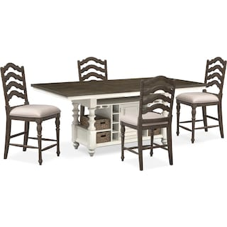 Charleston Counter-Height Kitchen Island and 4 Stools