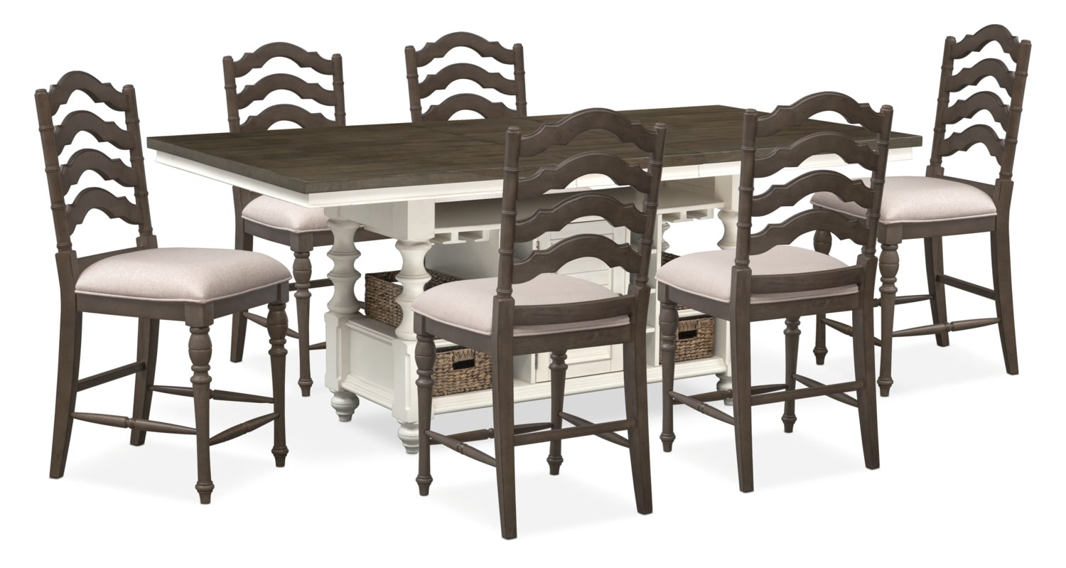 charleston counter height dining table and 6 stools gray and white american signature furniture. Black Bedroom Furniture Sets. Home Design Ideas