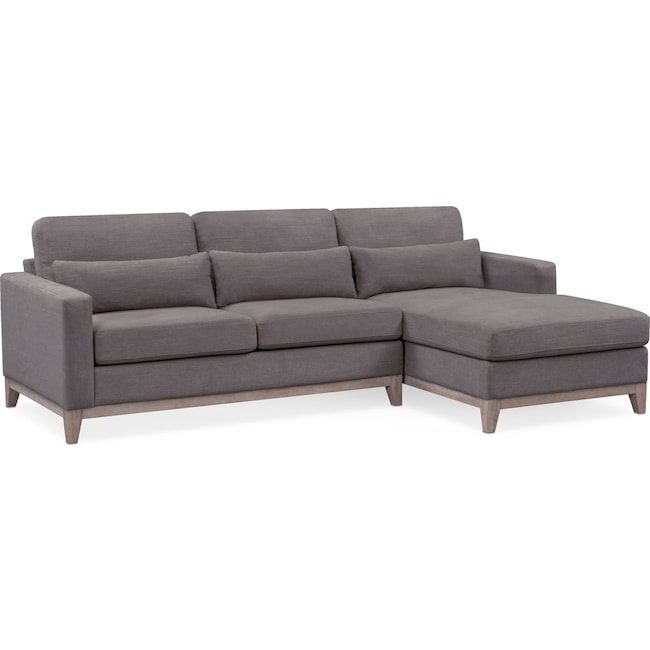 Living Room Furniture - Crosby 2-Piece Sectional with Right-Facing Chaise - Gray