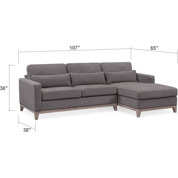 Living Room Furniture - Crosby Gray 2-Piece Sectional with Chaise
