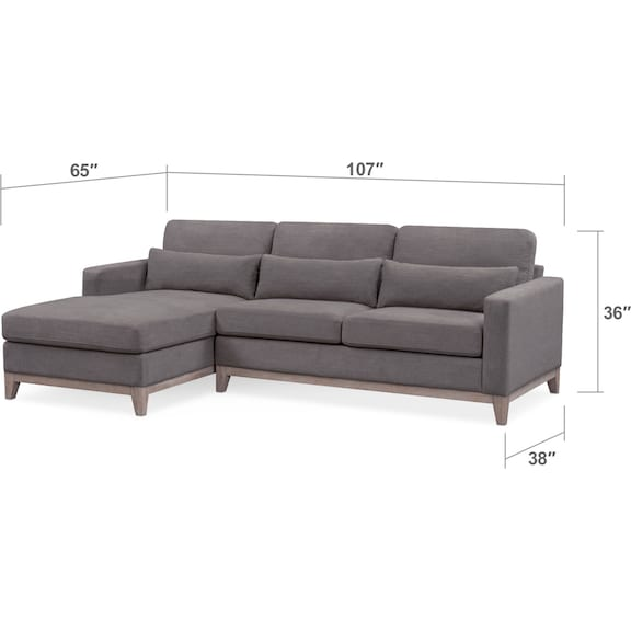Living Room Furniture - Crosby 2-Piece Sectional with Chaise and Storage Ottoman Set