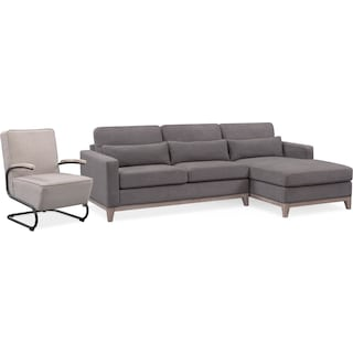 Crosby 2-Piece Sectional with Right-Facing Chaise and Accent Chair Set - Gray