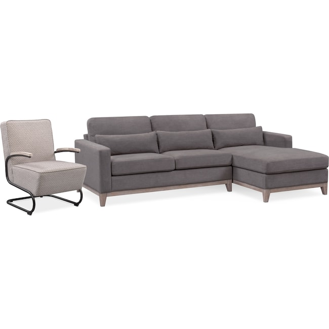 Living Room Furniture - Crosby 2-Piece Sectional with Right-Facing Chaise and Accent Chair Set - Gray