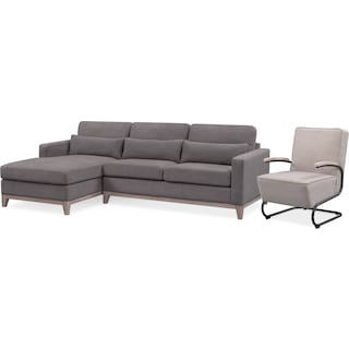 Crosby 2-Piece Sectional with Left-Facing Chaise and Accent Chair Set - Gray