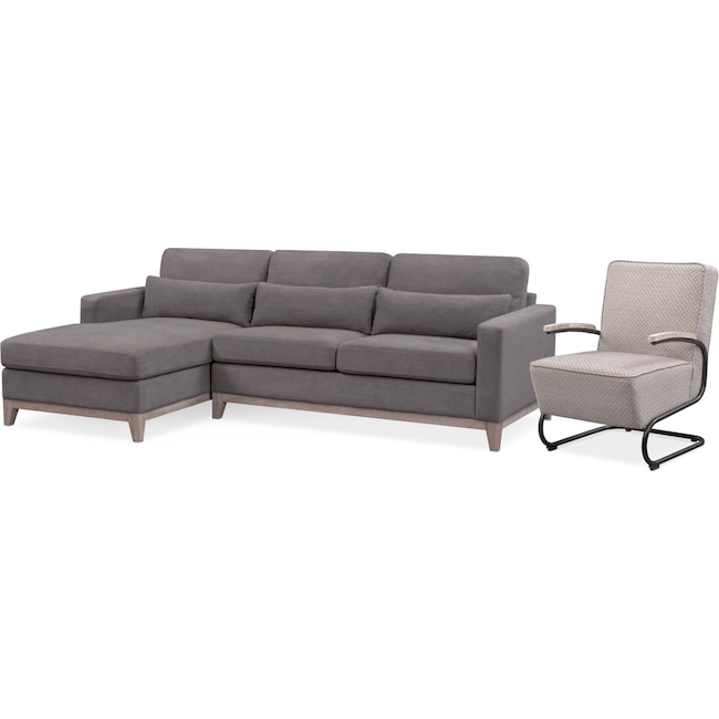 Living Room Furniture - Crosby 2-Piece Sectional with Left-Facing Chaise and Accent Chair Set - Gray