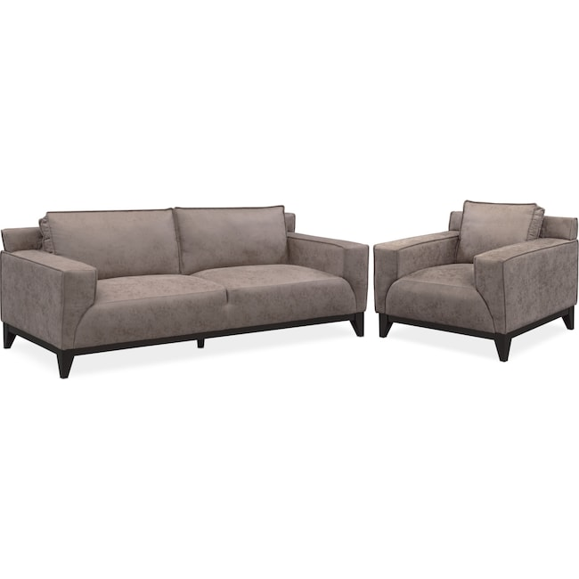 Living Room Furniture - Wynn Sofa and Chair Set - Taupe