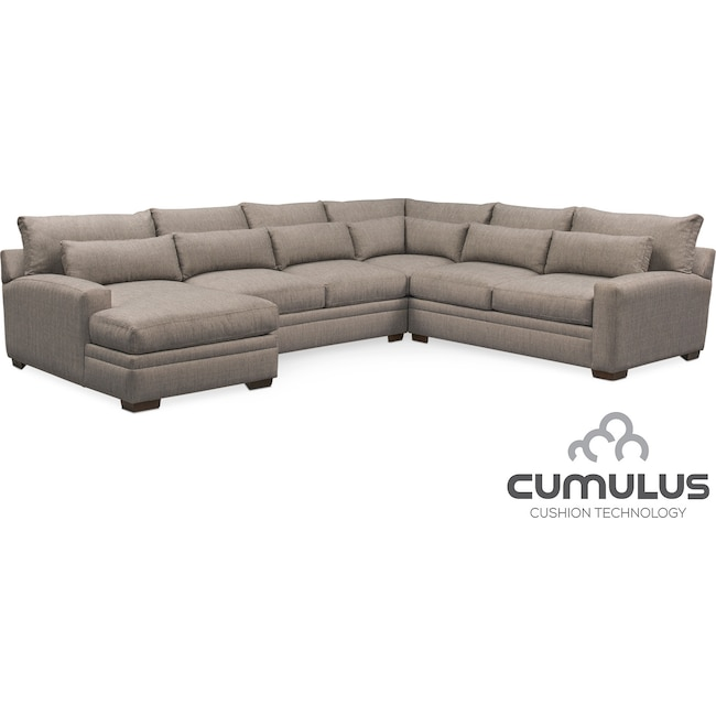 Living Room Furniture - Winston Cumulus 4-Piece Sectional with Left-Facing Chaise - Gray