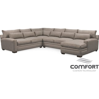 Winston Comfort 4-Piece Sectional with Right-Facing Chaise - Gray