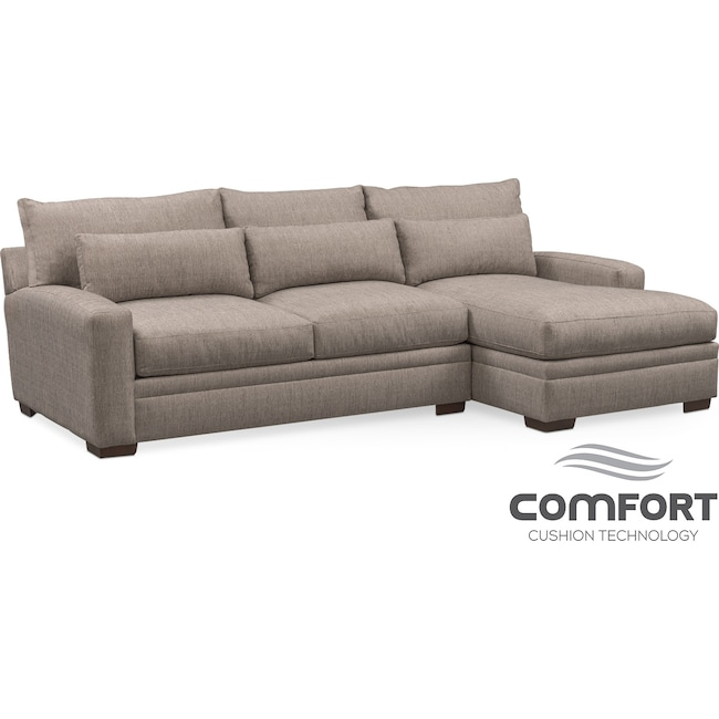 Living Room Furniture - Winston Comfort 2-Piece Sofa with Right-Facing Chaise - Gray