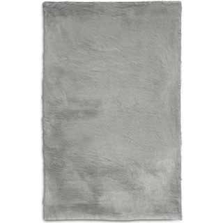 Faux Fox Fur 5' x 8' Area Rug - Sterling