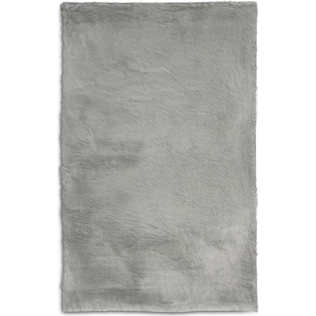 Rugs - Faux Fox Fur 5' x 8' Area Rug - Sterling