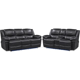 Monza Manual Recliner Sofa and Loveseat Set - Black
