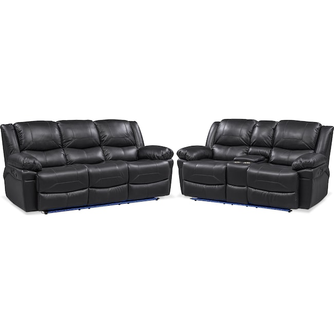 Living Room Furniture - Monza Manual Recliner Sofa and Loveseat Set - Black