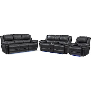 Monza Dual-Power Reclining Sofa, Loveseat and Recliner - Black