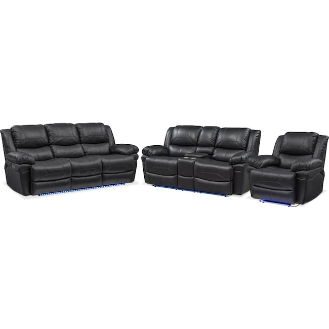 Living Room Furniture - Monza Dual-Power Reclining Sofa, Loveseat and Recliner - Black