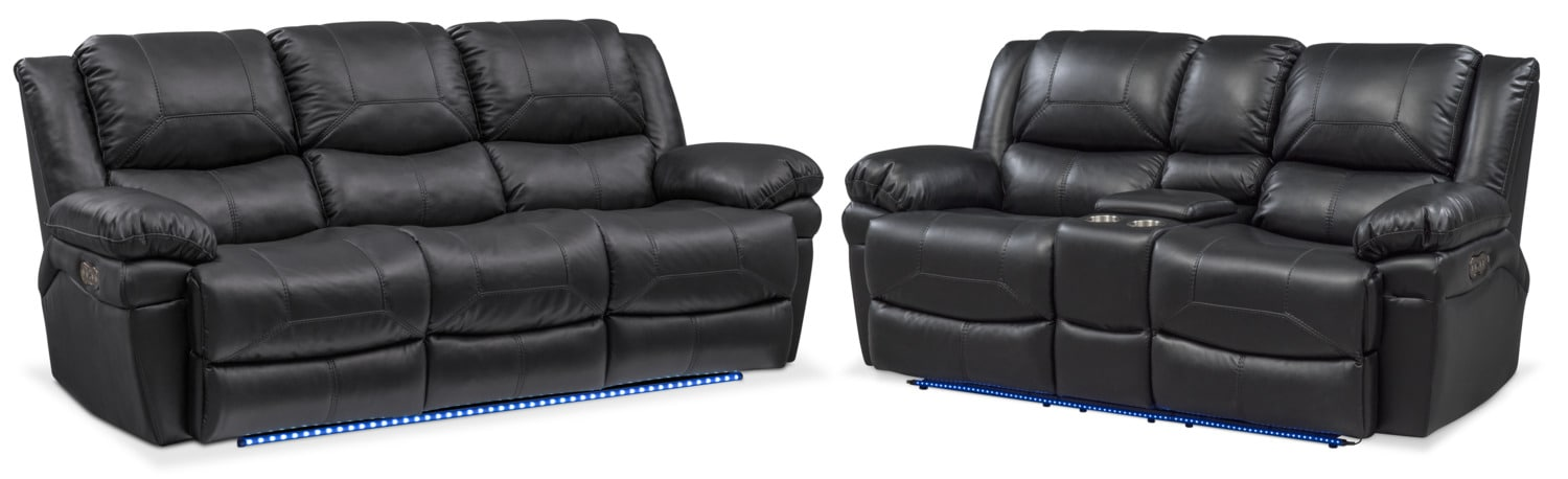 Living Room Furniture - Monza Dual-Power Reclining Sofa and Loveseat Set - Black