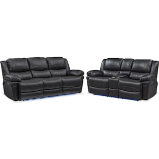 Monza Dual-Power Reclining Sofa and Loveseat Set - Black