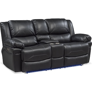 Monza Dual Power Reclining Loveseat with Console - Black