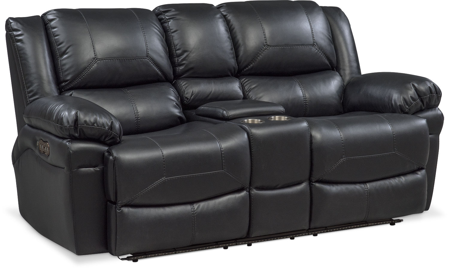 Monza Dual Power Reclining Loveseat With Console Black