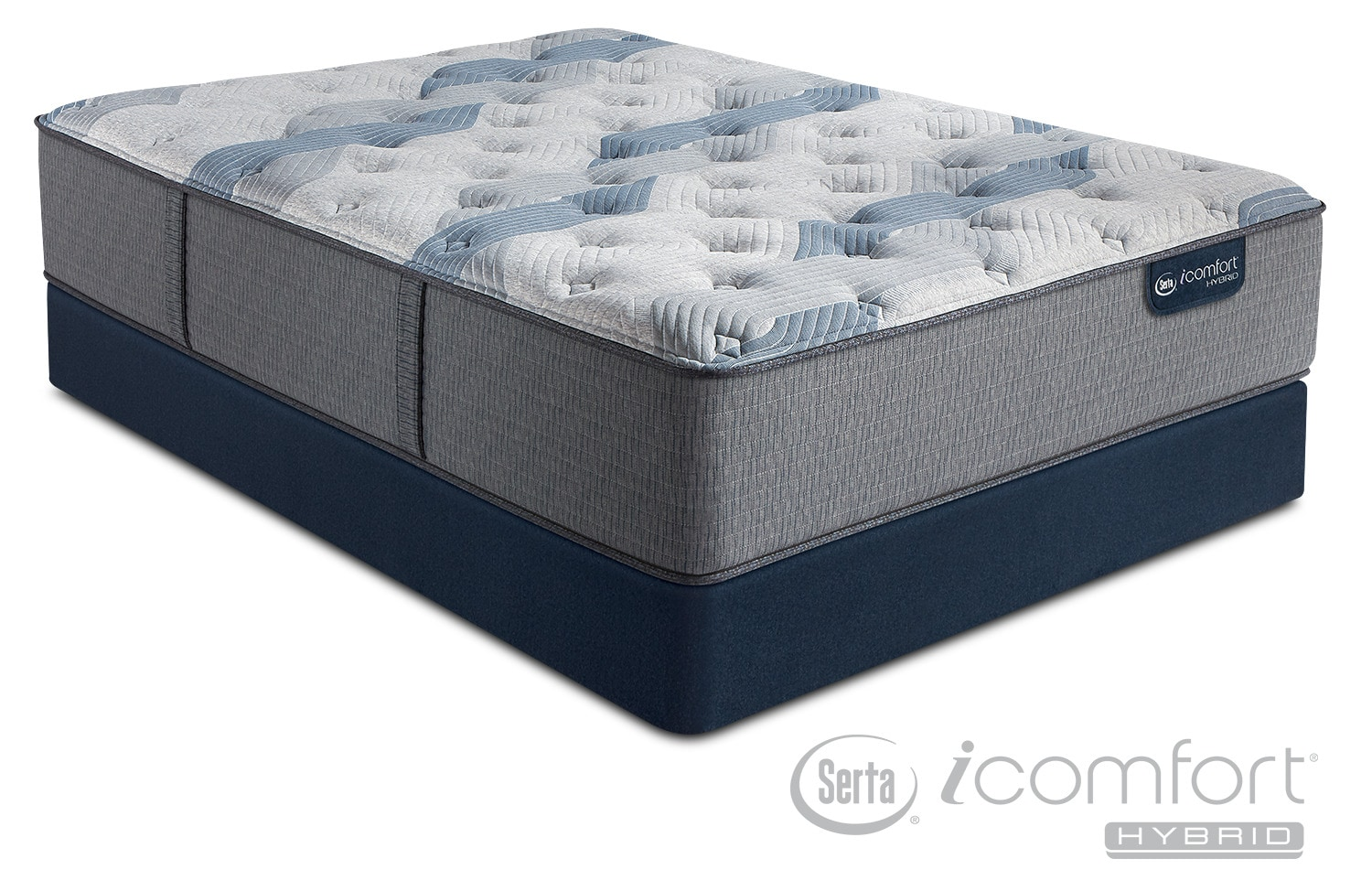 blue fusion 200 plush california king mattress and split foundation set american signature. Black Bedroom Furniture Sets. Home Design Ideas