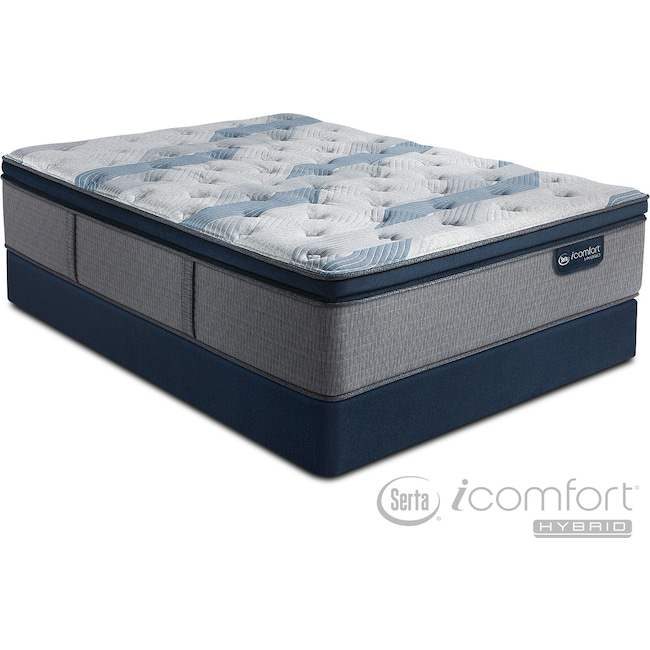 Mattresses and Bedding - Blue Fusion 300 Plush Pillowtop King Mattress and Split Foundation Set