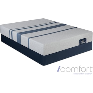 Blue 100 Cushion Firm Queen Mattress and Foundation Set