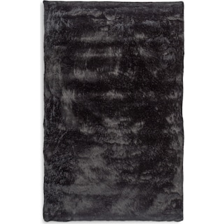 Faux Fox Fur Area Rug - Black