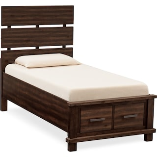 Tribeca Youth Full Plank Bed with 2 Underbed Drawers - Tobacco