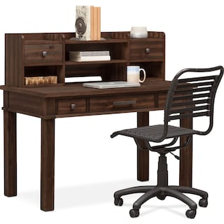 Tribeca Desk and Hutch - Tobacco