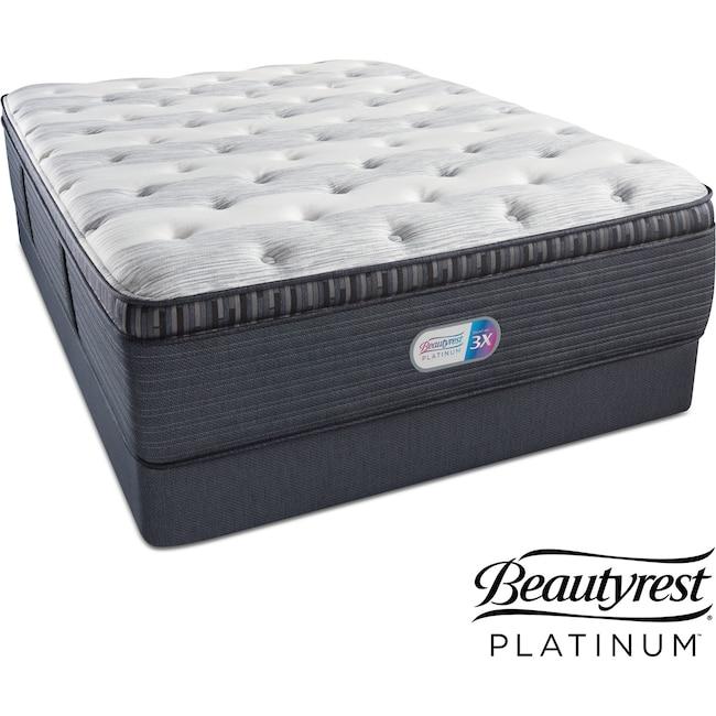 Mattresses And Bedding Findlay Terrace Plush Pillowtop Queen Mattress Low Profile Foundation Set