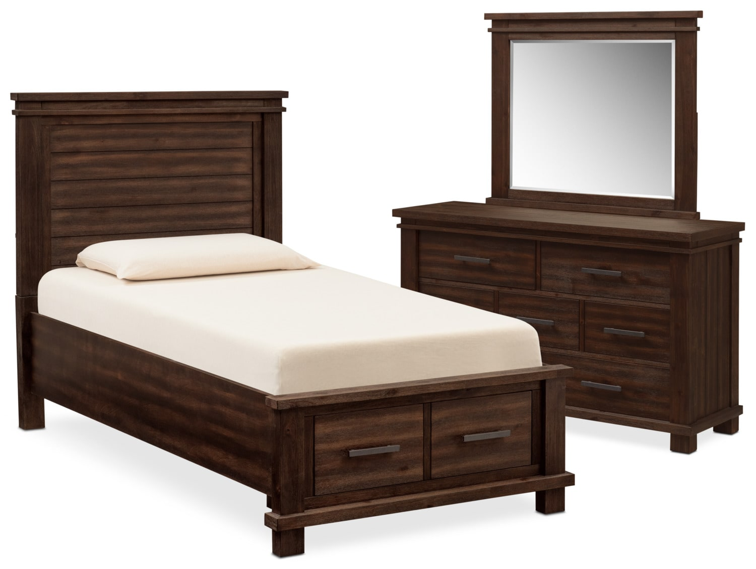 Kids Furniture - Tribeca Youth 5-Piece Twin Storage Bedroom Set with Dresser and Mirror