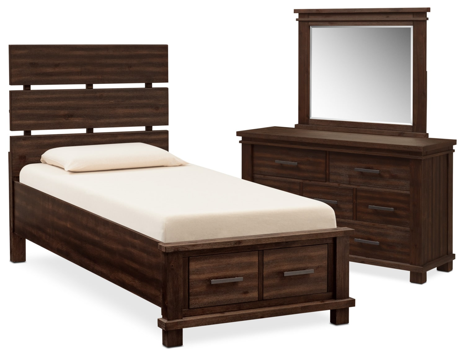 Kids Furniture - Tribeca Youth 5-Piece Full Plank Bedroom Set with 2 Underbed Drawers - Tobacco