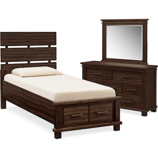 Tribeca Youth 5-Piece Full Plank Bedroom Set with 2 Underbed Drawers - Tobacco