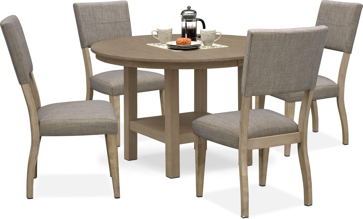 Dining Room Furniture   Tribeca Round Dining Table And 4 Upholstered Side  Chairs   Gray
