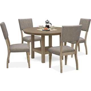 Tribeca Round Dining Table and 4 Upholstered Side Chairs - Gray