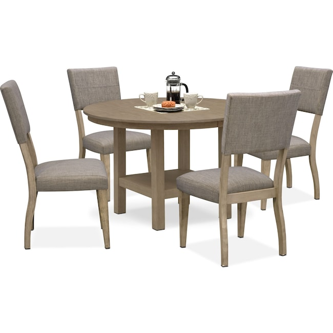 Dining Room Furniture - Tribeca Round Dining Table and 4 Upholstered Side Chairs - Gray