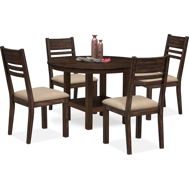 Dining Room Furniture - Tribeca Round Dining Table and 4 Side Chairs - Tobacco
