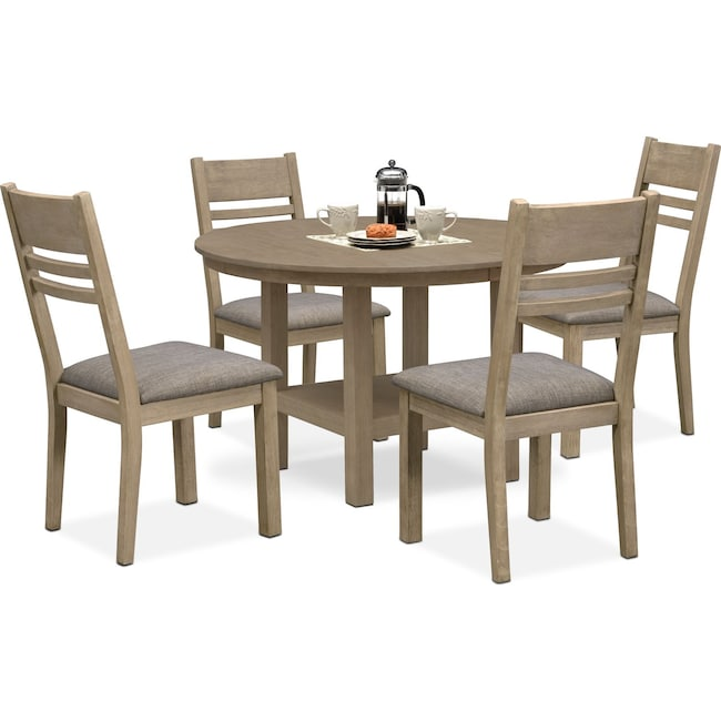 Dining Room Furniture - Tribeca Round Dining Table and 4 Side Chairs - Gray